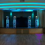 Gold Mobile Disco Package With Blue Uplit Plinths