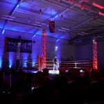Atmospheric lighting at boxing show