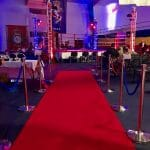 Red carpet runner with posts and ropes - boxing event