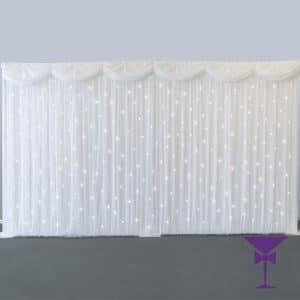 Starlit White Wedding Drape Backdrop hire Kent, Surrey, London, Sussex & Essex