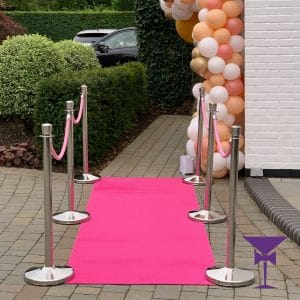 3 Metre Pink Carpet Hire Package With Posts & Ropes
