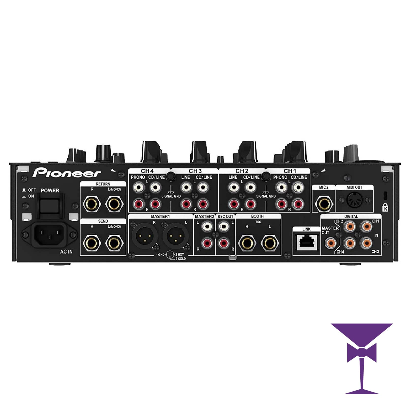 Rear view of our Pioneer DJM Nexus DJ Mixer