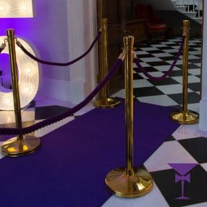 Purple carpet hire with posts and ropes