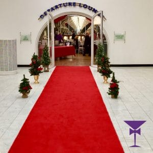 Luxury red carpet hire at a departure lounge