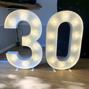 Light up number 30 hire in Kent, Surrey & Sussex