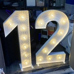 Light up number 12 hire