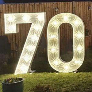 Illuminated light up number 70 hire